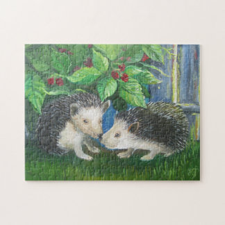 Hedgehogs in love oil painting jigsaw puzzle