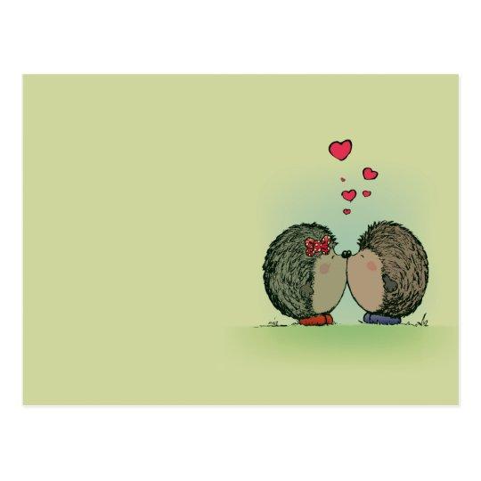 Hedgehogs in love postcard