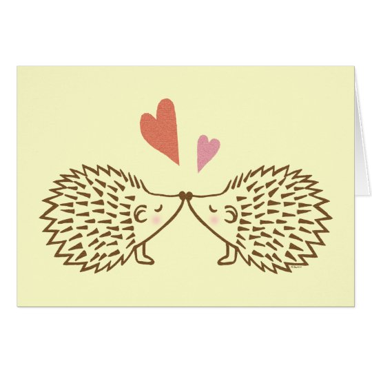 Hedgehogs Kiss Hearts I love you Greeting Card