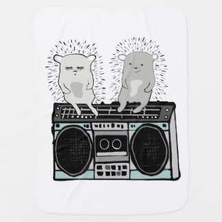 Hedgehogs on boombox baby blanket