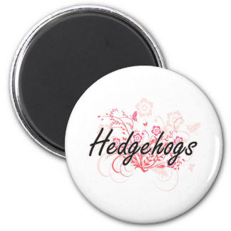 Hedgehogs with flowers background 6 cm round magnet