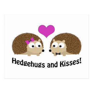 Hedgehugs and Kisses Hedgehog Love Postcard