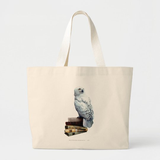 Hedwig on books large tote bag
