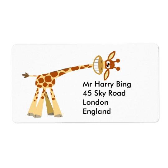 Hee Hee Hee!! cartoon giraffe Avery Label