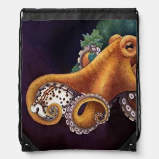 He'e (octopus) with Cowry (Dark) Drawstring Bag