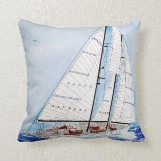 heeling sailboat watercolor cushion