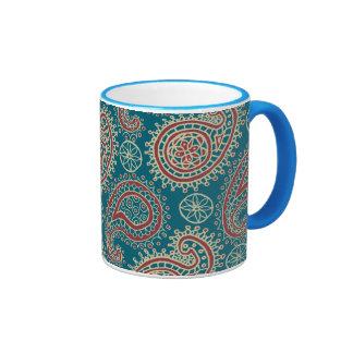 Heffalump Red Blue Beige Paisley Ringer Coffee Mug