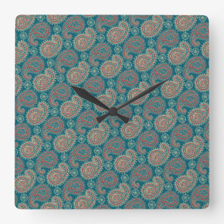 Heffalumps Red Blue Beige Paisley Wall Clock