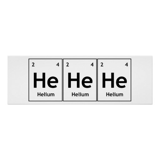 HeHeHe Helium Element Periodic Table Word Science Poster