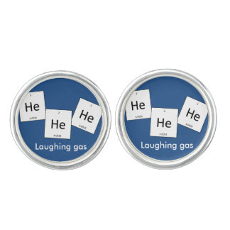 Hehehe Helium Laughing Gas Element Pun Cufflinks