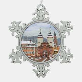 Heidelberg, Germany Snowflake Pewter Christmas Ornament
