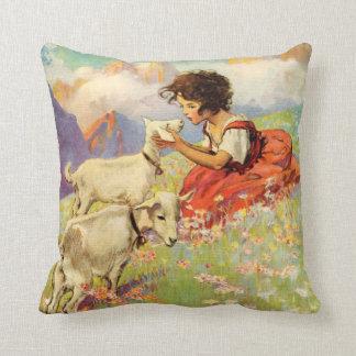 """Heidi and Her Goats"" by Jessie Willcox Smith Cushion"