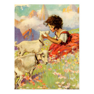 """""""Heidi and Her Goats"""" by Jessie Willcox Smith Postcard"""