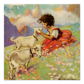 """Heidi and Her Goats"" by Jessie Willcox Smith Poster"