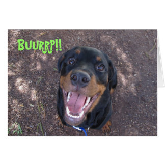 Heidi Rottweiler Puppy Burping Birthday Card