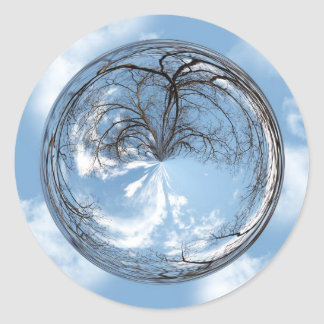 Heights of Heaven with  tree, clouds , sky, bubble Round Stickers