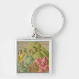 Heights of mountains Silver-Colored square key ring