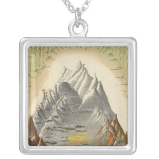 Heights Of The Principal Mountains In The World 2 Silver Plated Necklace
