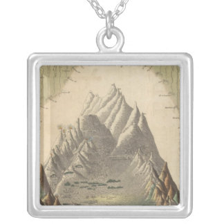 Heights Of The Principal Mountains In The World Silver Plated Necklace