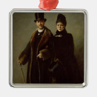 Heinrich Schliemann  and his Wife Silver-Colored Square Decoration