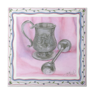 Heirloom Cup & Rattle on Purple Background Small Square Tile