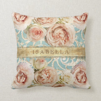 Heirloom Roses with Damask Add Name Cushion