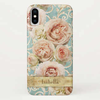 Heirloom Roses with Damask Personalized iPhone X Case