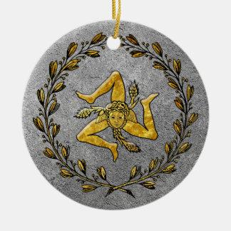 Heirloom Sicilian Trinacria Gold and Silver Christmas Ornament