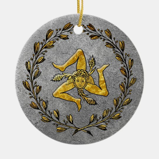Heirloom Sicilian Trinacria Gold and Silver Christmas Ornament