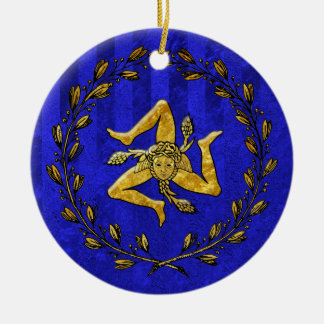 Heirloom Sicilian Trinacria Gold Blue Stripe Christmas Ornament