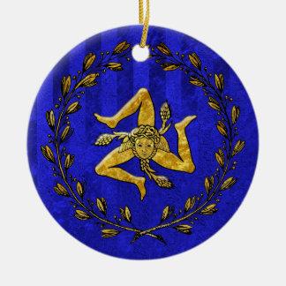 Heirloom Sicilian Trinacria Gold Blue Stripe Round Ceramic Decoration