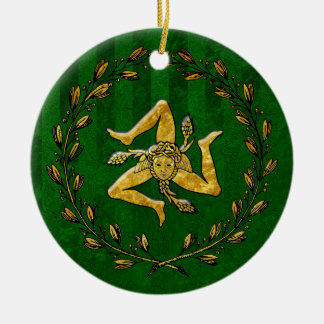 Heirloom Sicilian Trinacria Gold Green Stripe Christmas Ornament