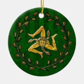 Heirloom Sicilian Trinacria Gold Green Stripe Round Ceramic Decoration
