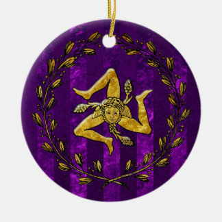 Heirloom Sicilian Trinacria Gold Purple Stripe Round Ceramic Decoration