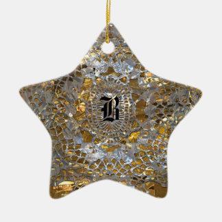 Heirloom Star Elegant Monogram Christmas Ornament