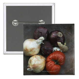 Heirloom tomato, yellow onion, red onion, ginger 15 cm square badge