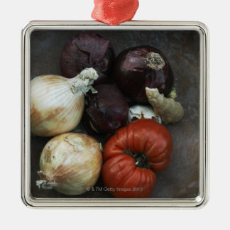 Heirloom tomato, yellow onion, red onion, ginger christmas ornament