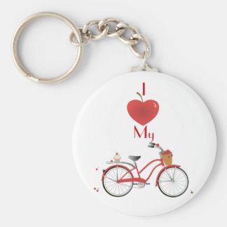Heitres Kirschfahrrad Basic Round Button Key Ring