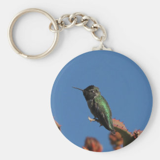 Helaine's Hummingbird 3 Basic Round Button Key Ring