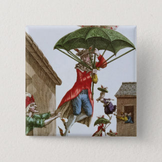 Held Aloft by Umbrellas and Butterflies 15 Cm Square Badge