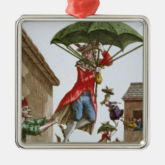 Held Aloft by Umbrellas and Butterflies Silver-Colored Square Decoration