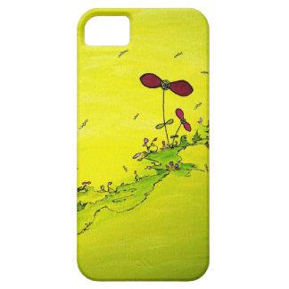 helder geel met fantasie bloemen en insecten iPhone 5 case