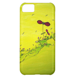 helder geel met fantasie bloemen en insecten iPhone 5C cover