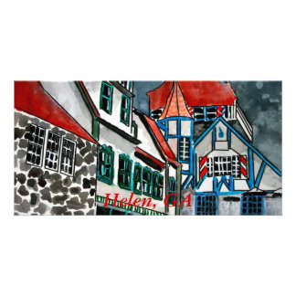 Helen GA vacation paradise German town Georgia art Custom Photo Card