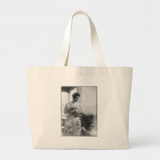 Helen Keller Watering Plants Portrait Tote Bags