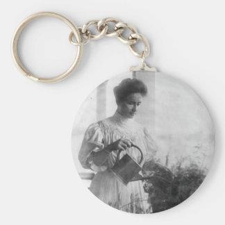 Helen Keller Watering Plants Portrait Basic Round Button Key Ring