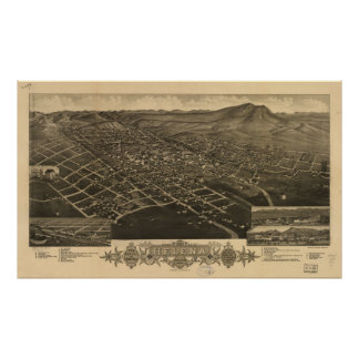 Helena Montana 1883 Antique Panoramic Map Posters