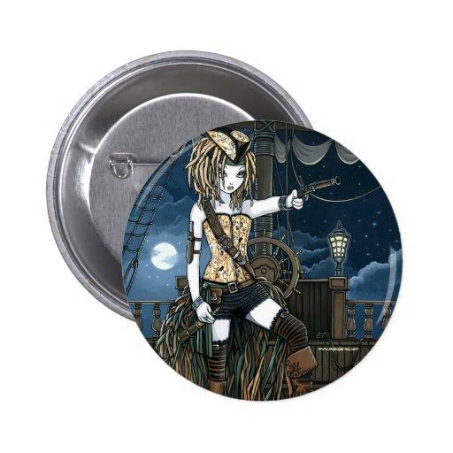 """Helena"" Sky Pirate Ship Moon Fae Button"