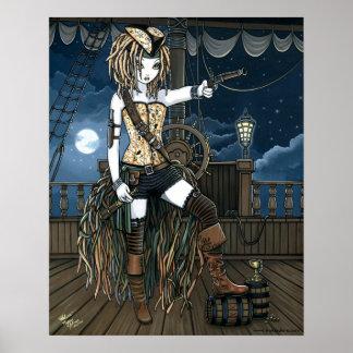 """""""Helena"""" Sky Pirate Ship Moon Fae Poster"""