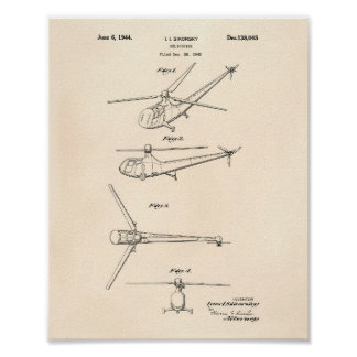 Helicopter 1944 Patent Art Old Peper Poster